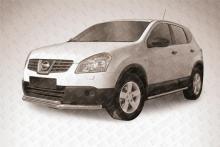 Защита переднего бампера d57+d42 двойная длинная Nissan QASHQAI (2011) NIQ11-001