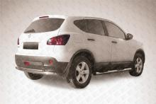Защита заднего бампера d57+d42 двойная Nissan QASHQAI (2011) NIQ11-009